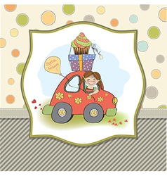 birthday card with funny little girl vector image