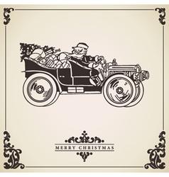Vintage christmas card santa claus driving vector