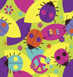 Psychedelic seamless pattern with ladybugs vector