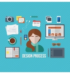Design concept with objects and devices vector