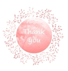Thank you card with watercolor wreath vector