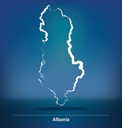 Doodle map of albania vector