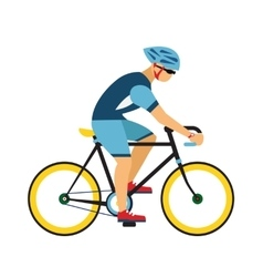 Man with helmet ride by road bicycle cycling vector