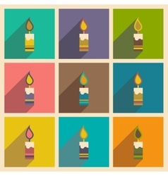 Set flat icons with long shadow christmas candle vector