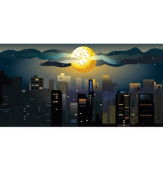 Full moon at the city vector