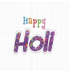 Happy holi paper word with color paint stains vector
