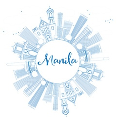 Outline manila skyline with blue buildings vector