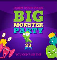 big monster party card invitation poster vector image