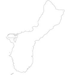 Black white guam outline map vector