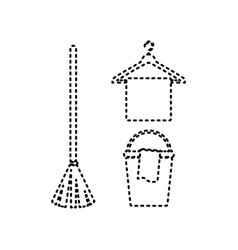 broom bucket and hanger sign black vector image vector image