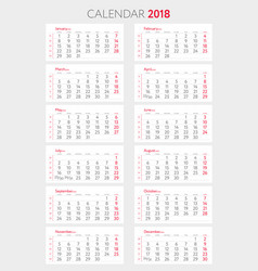 calendar 2018 with weeks template starts monday vector image vector image