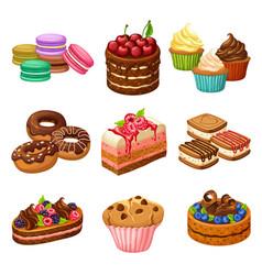 Cartoon sweet products elements set vector