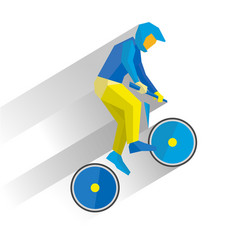 Cycling bmx cartoon cyclist jump on bike vector