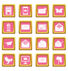 email icons pink vector image