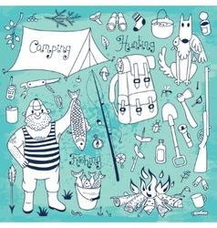 Fishing hunting camping set vector