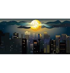 full moon at the city vector image