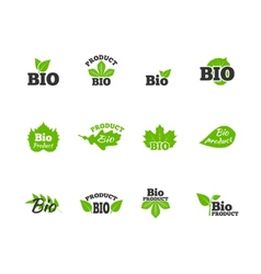 Green leaves flat icons set vector