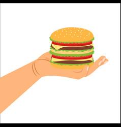 hand holding hamburger vector image vector image