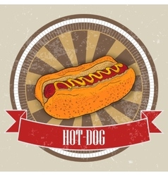 Hot dog on vintage background - grunge cover for vector