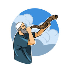 jewish blowing shofar vector image