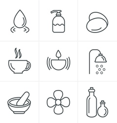 Line Icons Style Spa Icons Set Design vector image