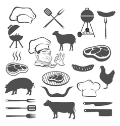 Meat and set of tools vector