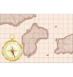 Old map imitation with golden compass vector