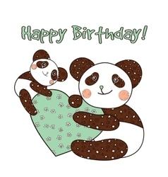 Panda with heart happy birthday card vector image vector image