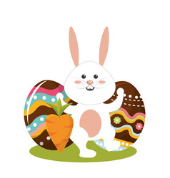 Rabbit easter with decorated eggs and carrot vector