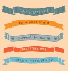 Ribbon banner congratulations isolated cute set vector