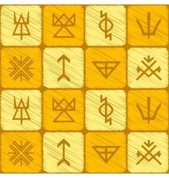Seamless background with slavic pagan symbols vector