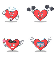 Set of heart character with sailor fitness ice vector