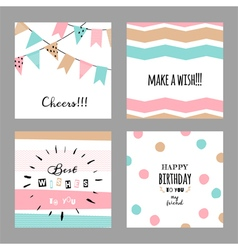 Set with cute decorative cards for birthday vector