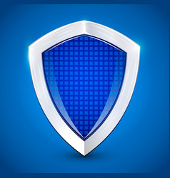 Shiny metal blue shied protection concept vector