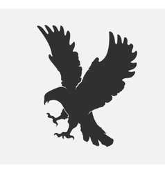 Silhouette flying eagle on a white background vector