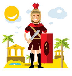 Spartan warrior flat style colorful vector