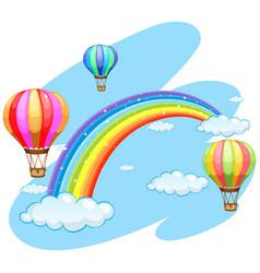Three balloons flying over the rainbow vector