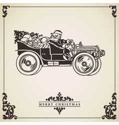 Vintage christmas card santa claus driving vector