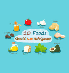 10 foods should not refrigerate vector