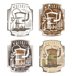 Whiskey grunge labels set with home alcohol vector