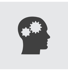 Head and gear icon vector