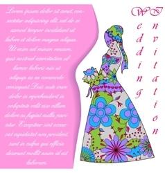 Wedding invitaton with bride silhouette colorful vector image