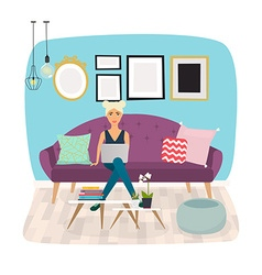 Girls working at home Young woman sitting on a vector image
