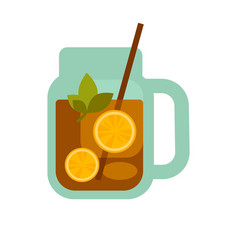 Glass mug of tea with lemons herbs straw in cup vector