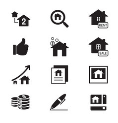 Silhouette real estate icons symbol vector