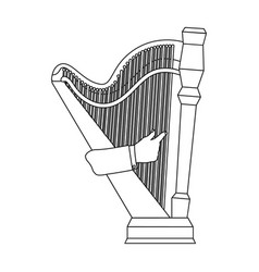 Playing the harp stringed musical instrument vector