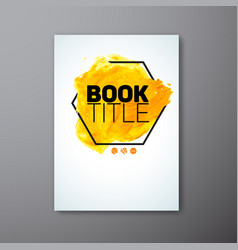 Abstract book watercolor cover template vector