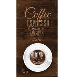 Cup coffee dark wood vector