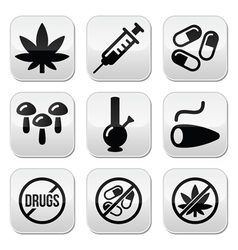 Drugs addiction marijuana syringe buttons set vector