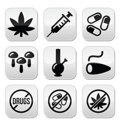 Drugs addiction marijuana syringe buttons set vector image